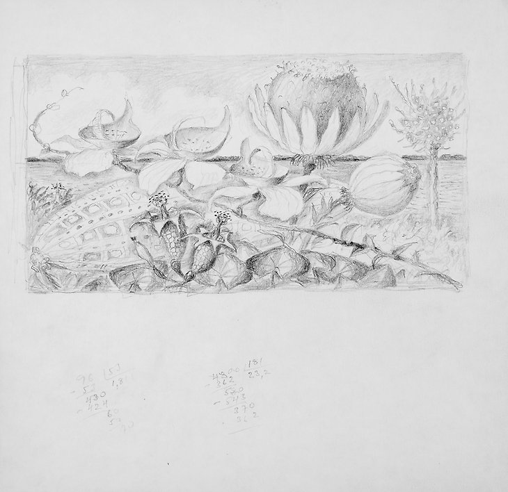 Drawing  1973  graphite on paper  208 x 202 mm